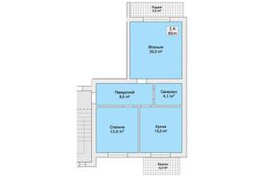 Таунхаус вул. Лялі Ратушної: планування 2-кімнатної квартири 65 м²