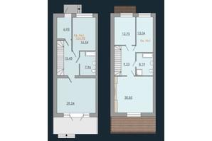 Таунхаусы Европейский квартал: планировка 3-комнатной квартиры 154.98 м²