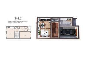 Таунхаусы в Леваневцев: свободная планировка квартиры 169.19 м²
