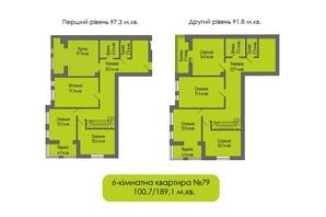ЖБ Липинський +: планування 5-кімнатної квартири 189.1 м²