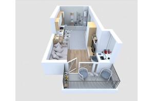 ЖБК Якісне житло: планування 1-кімнатної квартири 29.62 м²
