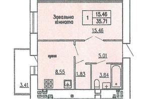 ЖБК вул. Гагаріна: планування 1-кімнатної квартири 35.71 м²