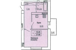 ЖБК вул. Гагаріна: планування 1-кімнатної квартири 37.8 м²