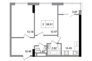 ЖГ Artville: планировка 2-комнатной квартиры 58.51 м²