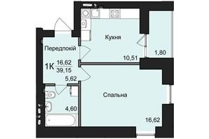 ЖК №2: планировка 1-комнатной квартиры 39.15 м²