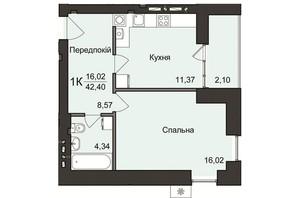 ЖК №2: планировка 1-комнатной квартиры 42.4 м²