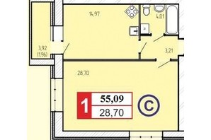 ЖК «777»: планировка 1-комнатной квартиры 55.09 м²
