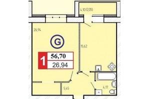 ЖК «777»: планировка 1-комнатной квартиры 56.7 м²