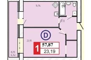 ЖК «777»: планировка 1-комнатной квартиры 57.87 м²