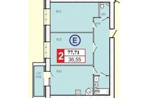 ЖК «777»: планировка 2-комнатной квартиры 77.71 м²