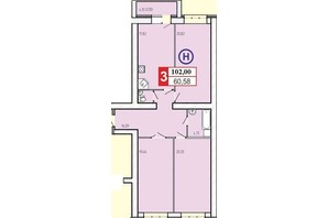 ЖК «777»: планування 3-кімнатної квартири 102 м²