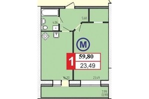 ЖК «777»: планировка 1-комнатной квартиры 59.8 м²