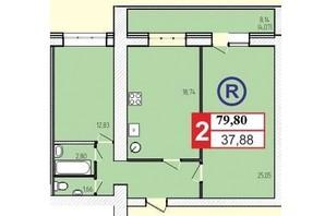 ЖК «777»: планировка 2-комнатной квартиры 79.8 м²