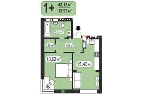 ЖК 7я: планировка 1-комнатной квартиры 42.18 м²