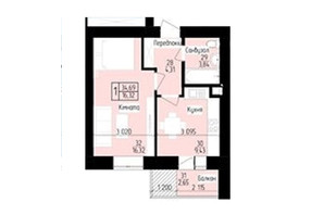 ЖК 9 район: планировка 1-комнатной квартиры 34.69 м²