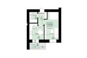 ЖК 9 район: планировка 1-комнатной квартиры 35.02 м²