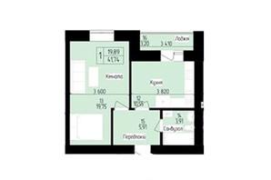 ЖК 9 район: планировка 1-комнатной квартиры 41.5 м²