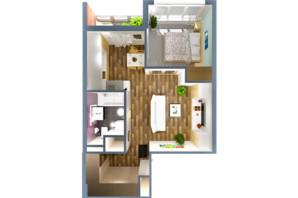 ЖК А12 на Олимпійській: планування 1-кімнатної квартири 38 м²