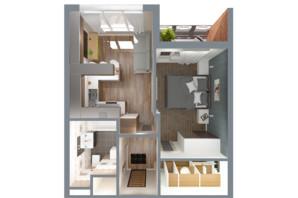 ЖК А12 на Олимпійській: планування 1-кімнатної квартири 34 м²