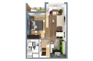 ЖК А12 на Олимпийской: планировка 1-комнатной квартиры 40 м²