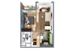 ЖК А12 на Симоненка: планування 1-кімнатної квартири 40 м²