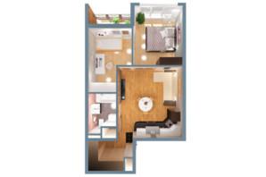 ЖК А12 на Симоненка: планування 2-кімнатної квартири 45 м²