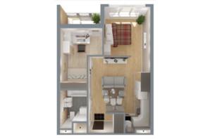 ЖК А12 на Симоненка: планування 2-кімнатної квартири 47 м²