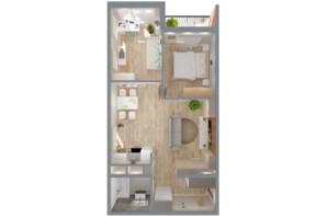ЖК А12 на Симоненка: планування 2-кімнатної квартири 59 м²