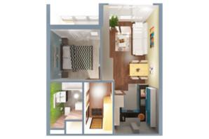 ЖК А12 на Симоненко: планировка 1-комнатной квартиры 34 м²