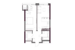 ЖК A136 Highlight House: планировка 1-комнатной квартиры 54.83 м²