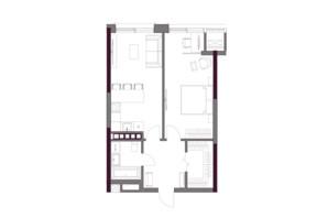 ЖК A136 Highlight House: планировка 1-комнатной квартиры 55.4 м²