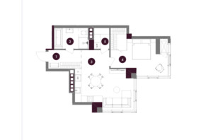 ЖК A136 Highlight House: планировка 1-комнатной квартиры 57.87 м²