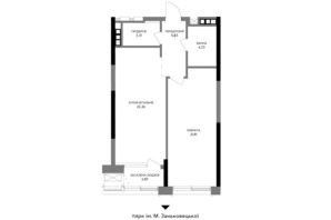 ЖК A136 highlight tower: планировка 1-комнатной квартиры 58.79 м²