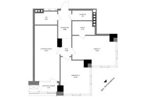 ЖК A136 highlight tower: планировка 2-комнатной квартиры 80.24 м²