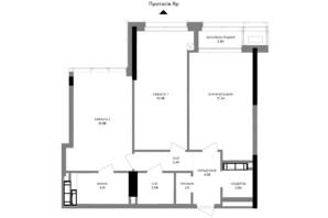 ЖК A136 highlight tower: планировка 2-комнатной квартиры 80.3 м²