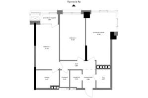 ЖК A136 highlight tower: планировка 2-комнатной квартиры 84.62 м²