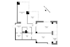 ЖК A136 highlight tower: планировка 3-комнатной квартиры 117.46 м²