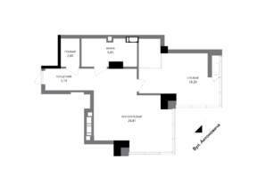 ЖК A136 highlight tower: планировка 1-комнатной квартиры 58.02 м²