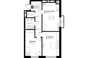 ЖК ARTHOUSE park: планування 2-кімнатної квартири 57.85 м²