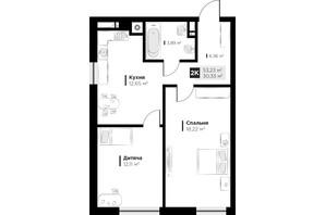 ЖК ARTHOUSE park: планировка 2-комнатной квартиры 53.23 м²
