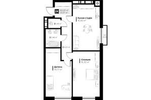 ЖК ARTHOUSE park: планировка 2-комнатной квартиры 62.2 м²