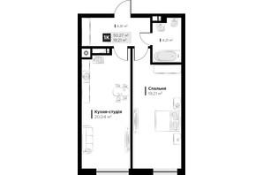 ЖК ARTHOUSE park: планировка 1-комнатной квартиры 50.27 м²