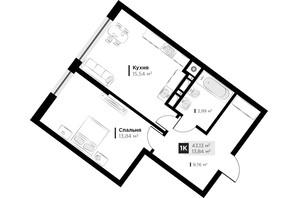 ЖК ARTHOUSE park: планировка 1-комнатной квартиры 43.13 м²