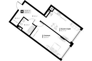 ЖК ARTHOUSE park: планировка 1-комнатной квартиры 48.86 м²