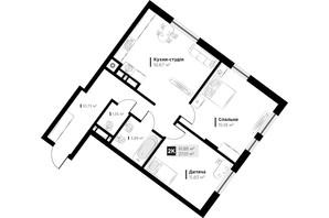 ЖК ARTHOUSE park: планировка 2-комнатной квартиры 61.85 м²