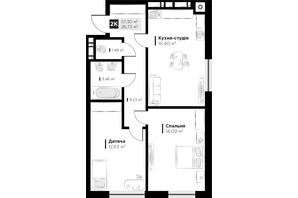 ЖК ARTHOUSE park: планировка 2-комнатной квартиры 57.3 м²