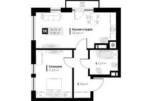 ЖК ARTHOUSE park: планировка 1-комнатной квартиры 39.76 м²
