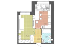 ЖК Абрикос: планировка 1-комнатной квартиры 34.4 м²