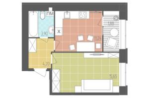 ЖК Абрикос: планировка 1-комнатной квартиры 36.87 м²