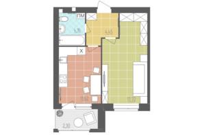 ЖК Абрикос: планировка 1-комнатной квартиры 40.25 м²